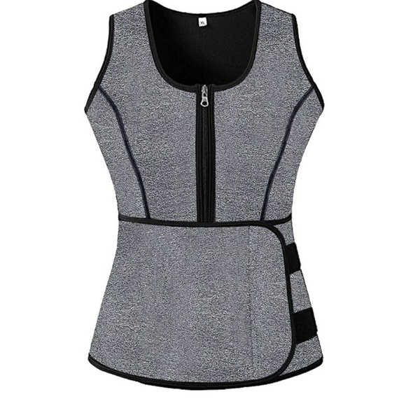 c622e84d48 Sauna Sweat Zipper Waist Trainer Vest body shaper